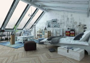 Loft bedroom with slanted windows