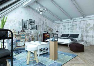 Modern loft bedroom with trendy paint effect